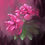 Digital painting flower leaf purple pink Royalty Free Stock Image