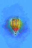 Digital Painting - Flying Hot Air Balloon in Blue Sky Stock Photo