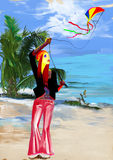 Digital painting: Flying a kite Royalty Free Stock Photos