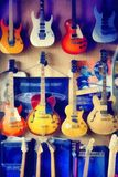 Digital painting - group of guitars in exposition. Digital painting from photo - group of guitars in exposition Stock Photo