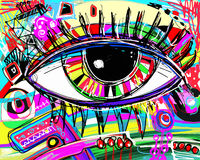 Digital painting of human eye, colorful composition in contempor Royalty Free Stock Photos