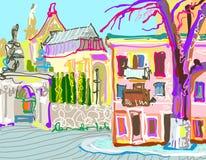 Digital painting of Kamenetz-Podolsky town Stock Image