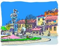 Digital painting of Kamenetz-Podolsky town vector illustration