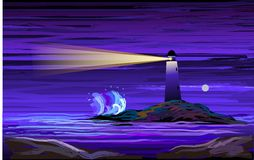 Digital painting of a lighthouse Stock Images