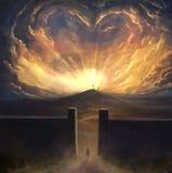 Digital painting of love surrounding cross stock photography