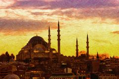Suleiman Mosque Digital Painting Royalty Free Stock Photos