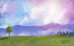 Digital painting meadow, trees and forest with dramatic sky royalty free illustration