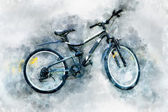 Digital painting of modern bicycle, watercolor style Stock Photos