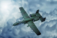 Digital painting of modern military aircraft. A-10 tank buster ground attack in action Stock Images