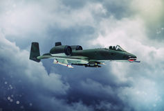 Digital painting of modern military aircraft. A-10 tank buster ground attack in action Royalty Free Stock Image