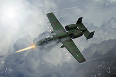 Digital painting of modern military aircraft. A-10 tank buster ground attack in action Stock Image