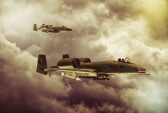 Digital painting of modern military aircraft. A-10 tank buster ground attack in action Royalty Free Stock Photography