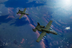 Digital painting of modern military aircraft Stock Photos
