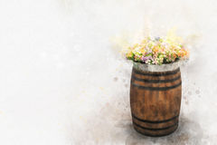 Digital painting of multicolored flowers in wood bucket, waterco. Lor style Royalty Free Stock Photography