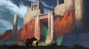 Free Digital Painting Of A Traveler With A Sword Approaching A Mysterious Temple Gate Emitting Glowing Green Mist - Fantasy Stock Photos - 177353493