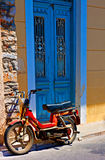 Digital painting of an old rusty moped in a greek village Royalty Free Stock Images