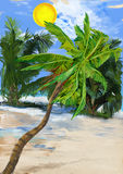 Digital Painting: Palms Royalty Free Stock Photo