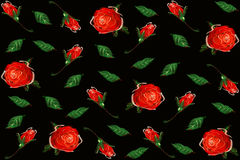 Digital Painting pattern red rose Royalty Free Stock Photography