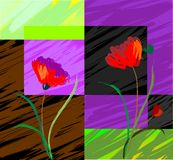 Digital painting of plant and flowers Stock Photo