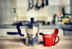 Digital Painting- red coffee cup and old coffeepot.  Stock Photography
