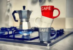 Digital Painting- red coffee cup and old coffeepot.  Royalty Free Stock Images