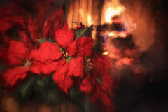 Digital Painting of Red Poinsettias and Fireplace. A digital painting of red Poinsettias with a fireplace with fire burning in the background Stock Photo
