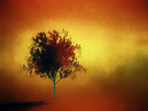 Digital painting of a red tree. On yellow and orange background stock illustration