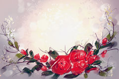 Digital Painting the Roses Red Stock Photos
