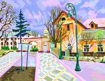 Digital painting of rural landscape stock illustration