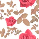 Seamless pattern with roses and leaves. Digital painting of seamless pattern with roses and leaves Stock Photography