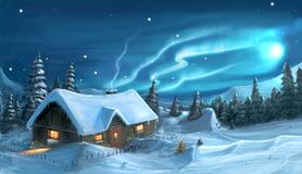 Digital Painting of Snowy Winter Christmas Night Cottage. Romantic digital painting of snowy winter christmas winter night cottage in mountains royalty free illustration
