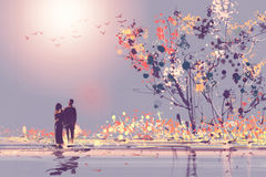Digital painting style Oil couples stood watching sunsets Royalty Free Stock Photography