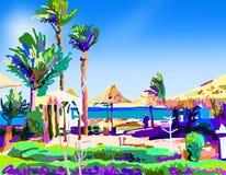Digital painting of summer beach landscape in Egypt vector illustration