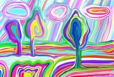 Digital painting of summer landscape, creative artwork inspiration Royalty Free Stock Image