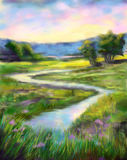 Digital painting of sunny spring landscape. Digital painting of sunny spring landscape on the river. Oil painting style Stock Photos