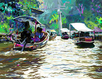 Digital painting of Thailand river, plein air contemporary art Royalty Free Stock Photos