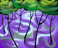 Digital painting of trees. Royalty Free Stock Photography