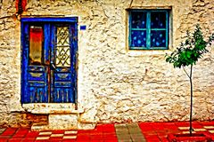 Digital painting of a Turkish village house Royalty Free Stock Photos