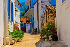 Digital painting of a Turkish village Royalty Free Stock Photos