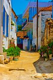 Digital painting of a Turkish village street Royalty Free Stock Photo