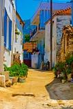 Digital painting of a Turkish village street Royalty Free Stock Photo
