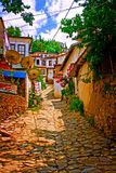 Digital painting of a Turkish village street Royalty Free Stock Images