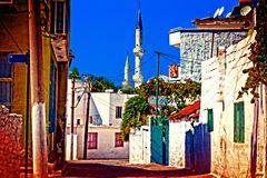 Digital painting of a Turkish village street Royalty Free Stock Photos