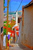 Digital painting of a Turkish village street Stock Photos