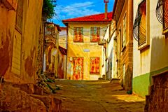 Digital painting of a Turkish village street Royalty Free Stock Photography