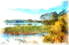 Digital painting of the View across the  placid lake Royalty Free Stock Image