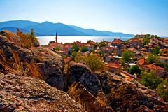 Digital painting of the village of Kapikiri  Lake Bafa, Turkey Stock Image