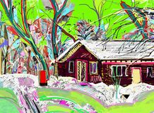 Digital painting of winter landscape Stock Images