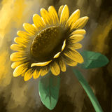 Digital panting flower sunflower yellow Royalty Free Stock Photos