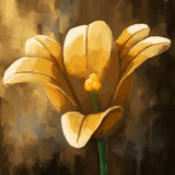 Digital panting flower tulip yellow Royalty Free Stock Images